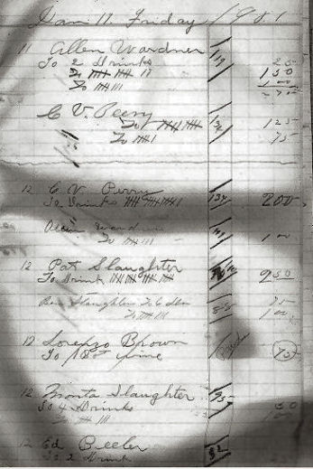 Saffell Saloon ledger January 11, 1901