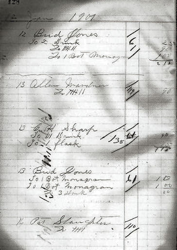 Saffell Saloon ledger January 12, 1901